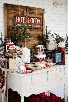 Hot chocolate bar for winter wedding or winter fiesta / more ideas on with . Bar à chocolat chaud pour mariage d'hiver ou fiesta hiver / + d'idées sur with… Hot chocolate bar for winter wedding or winter fiesta / more ideas on withalovelikethat. Country Christmas, All Things Christmas, Winter Christmas, Christmas Time, Christmas Porch, Outdoor Christmas, Christmas Ideas, Woodland Christmas, Xmas Party Ideas