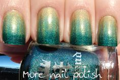 Holo gradient: a base of China Glaze GR8, the middle colour is Nubar Reclaim and the bottom colour is aEngland Saint George.