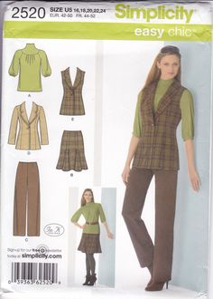 New Sewing Pattern Simplicity Pattern 2520 for High Neck Knit Top Jacket Pants Skirt  Misses Women Size  16/24 Bust 38 40 42 44 46 by LanetzLiving on Etsy