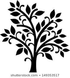 Graphic decorative tree House Wall Design, Wall Clock Design, Tree Stencil, Leaf Stencil, Flower Silhouette, Tree Silhouette, Simple Tree, Simple Flowers, Stencil Patterns