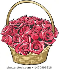 Basket with Flowers Stock Illustrations, Images & Vectors Rose Basket, Flower Basket, Stock Illustrations, Colorful Drawings, Crochet Ideas, Painting & Drawing, Vectors, Workouts, Baskets