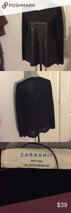 NWOT Zara Knit Blk Faux Leather Sweater Size M NWOT! 🚫Trades? Open to reasonable offers through the offer button! Zara Sweaters