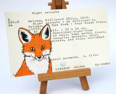 10 idea for upcycling library cards.  yes!!    Fox Painted on Library Card