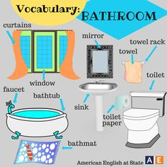Parts of the house vocabulary: Bathroom by #americanenglishatstate