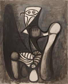 Pablo Picasso, Chouette sur une chaise, January 1947 Oil on canvas, 39 ¼ × 32 inches × 81 cm)© 2010 Estate of Pablo Picasso/Artists Rights Society (ARS), New York Picasso Sketches, Picasso Drawing, Picasso Art, Picasso Paintings, Abstract Paintings, Oil Paintings, Landscape Paintings, Cubist Movement, Francis Picabia