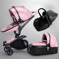 Leather Baby Pram Stroller 2 Way Shock Proof Many Colors Options 0 - 4 Years