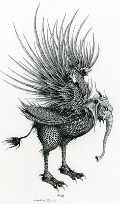 By ian miller inspiration Illustrations, Illustration Art, Dibujos Dark, Surealism Art, Surreal Tattoo, Hybrid Art, Dark Tattoo, Beautiful Fantasy Art, Bird Drawings