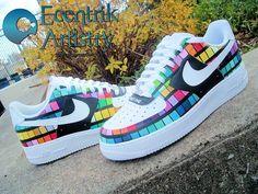 Pantone Nike Air Force 1 Custom Shoes by Ecentrik Artistry Best Sneakers, Custom Sneakers, Sneakers Fashion, Sneakers Nike, Air Force One Shoes, Nike Air Force Ones, Custom Painted Shoes, Custom Shoes, Nike Sb