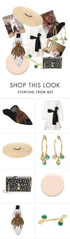"""#74. 2017 -  Transparent white dress / Golden Straw Sun Hats /  Polka dots"" by marina-antipanova ❤ liked on Polyvore featuring Sanayi 313, Zimmermann, Aurélie Bidermann, Dolce&Gabbana and Christian Dior"