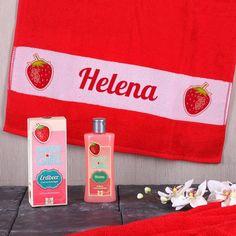Erdbeer Duschgel und Handtuch mit Namensaufdruck