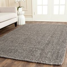Safavieh Hand-Woven Natural Fiber Light Grey Thick Jute Rug (6' x 9') | Overstock.com Shopping - The Best Deals on 5x8 - 6x9 Rugs