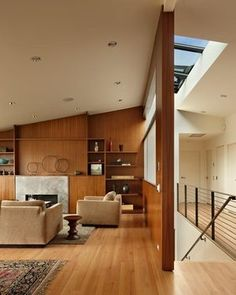 The living-room furniture came with the home, designed by the architect who remodeled it in the 1960s.