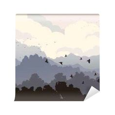 Fototapeta Poziome ilustracji stada ptaków i lasu z Mounta 365 dni na zwrot ✓ Miliony wzorów ✓ 100% Eco-Friendly ✓ Profesjonalna obsługa i doradztwo ✓ Skonfiguruj online!