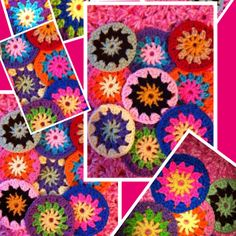 Circles of granny square flowers