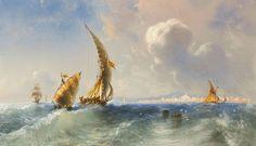 Carlo Bossoli (1815 - 1884) Alto mare, nei pressi di Alicante.