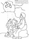 Daniel and the lion's den colouring book page