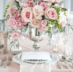 Pink Flower Wedding Reception Decor