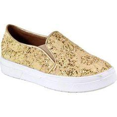 Women's Reneeze Olga-3 Glitter Slip On Sneaker Champagne Synthetic