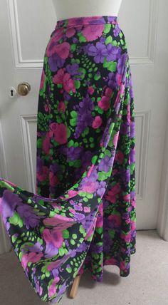 Vtg 70s Floral Wrap Around Maxi Skirt Bohemian Hippie Boho Ethnic Gypsy 10 12 14
