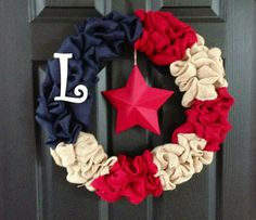 Patriotic 4th of July Burlap Wreath America-Personalized on Etsy, $45.00