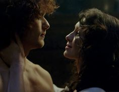 "Claire Fraser (Caitriona Balfe) and Jamie Fraser (Sam Heughan) in Episode 208 ""The Fox's Lair"" of Outlander Season Two on Starz via https://outlander-online.com/2016/05/28/1800-uhq-1080p-screencaps-of-episode-2x08-of-outlander-the-foxs-lair/"