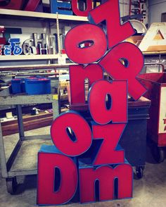 We got some dope letters in today.  Hello #racefans we're open for your shopping pleasure.  11 - 6 Saturday.  1021 East Michigan Street Indianapolis IN 46202 #shopindy #indysalvage #indy500 #vintagestyle #industrial #letters #red #blue #reclaimed