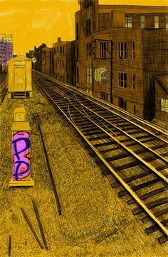 "Alley Study 41 with L Tracks | digital marker | 11""x7"" | 2013"
