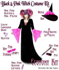 Sexy Economy Black & Pink PLUS SIZE Witch Halloween Costume Hot Pink! 1x -9x #Sanctuarie #Maxi #Halloween