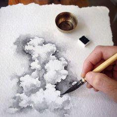 Ideas painting landscape tutorial art lessons for 2019 Watercolour Tutorials, Watercolor Techniques, Art Techniques, Watercolour Tips, Watercolor Art Diy, Watercolor Clouds, Watercolor Landscape, Painting Clouds, Watercolour Paintings