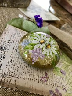 Painted Rock, Daisy Rock, Listing is for exact rock in photo. Ready to ship CLICK on MORE for full description PERFECT FOR.... . daisy lover gift . shelf sitter . garden accent . office paperweight . potted plant embellishment . a gift for someone Special.............maybe yourself