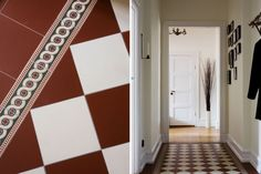 "Victorian floor tiles ""Flensburg"" with border ""Telford"": www. Old Stone Houses, Red Floor, Victorian Tiles, Porch Entry, House Tiles, Damier, Swedish House, Hallway Decorating, Scandinavian Interior"