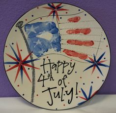 Missus Potts Painted Print - American flag 4th of July handprint