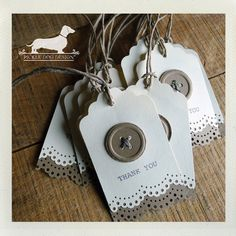 All Buttoned Up. Thank You Gift Tags (Set of 12) -- (Vintage-Style, Bridal Shower, Wedding, Baby Shower, Thank you). $10.00, via Etsy.