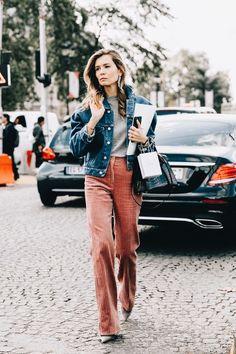 Corduroy, rust color, wide leg pants, corduroy pants, burnt rose pink color, thick corduroy, denim jacket