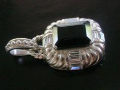 Judith Ripka Older Sterling Silver Pendant Onyx Diamonique Deco Design RARE SALE #Jewelry #Handmade #Necklaces