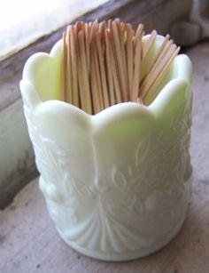Yellow Milk Glass Toothpick Holder Scalloped Cherries