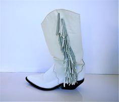 Vintage Zodiac White Finge Western or Goo Goo Boots - Size 6 1/2M by CircaPasse on Etsy https://www.etsy.com/listing/499387644/vintage-zodiac-white-finge-western-or