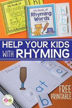 Use these free printable books to practice beginning sounds, to introduce rhyming words and reinforce sight words. Interactive rhyming books are a great addition to your classroom library. Word Family Activities, Rhyming Activities, Literacy Activities, Kindergarten Readiness, Literacy Skills, Early Literacy, Phonemic Awareness Activities, Phonological Awareness, Learning Letters