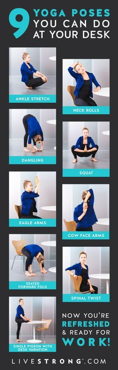 Desk yoga poses. Easy way to stretch and relax at your desk and during the workday. #ad #deskyoga #shoulders #yogasequence