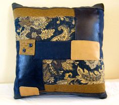 Decorative Navy Blue and Tan Handmade Accent by DivineDesignsbyLin