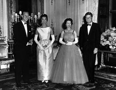 Queen Elizabeth and Prince Philip host President and Mrs. Kennedy at Buckingham Palace, June 5, 1961