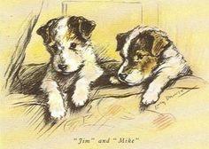 Wire Fox Terrier Puppy - MATTED Dog Print - Lucy Dawson