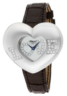 Chopard - Women's Love Diamond Mirrored Dial Black Genuine Crocodile