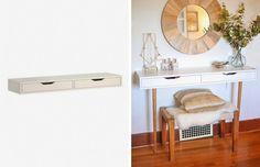 Customiser un meuble simple tel une tablette en y montant des pieds pour créer une jolie table de toilette