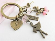 Personalized ballet keychain, keychains with initial, little girl gift, pink ballerina bag charm, granddaughter gift, birthday gift