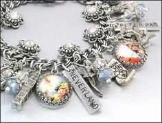 Off to Neverland, Peter Pan and Tinkerbell Charm Bracelet.  By Blackberry Designs. www.blackberrydesigns.etsy.com