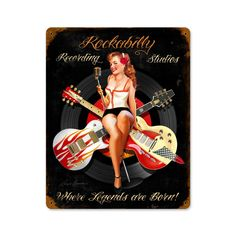 Rockabilly Recording Vintage Metal Sign 12 x 15 Inches, $47.97
