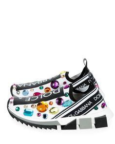 Dolce   Gabbana Slip-On Jeweled Trainer Sneaker 0b91c45d6d2