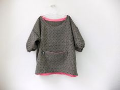 Girls Dress, Children Clothing, blouse, polka dots, wool fabric, grey and pink, festive children clothing for easter. €49,80, via Etsy.