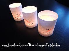 """""""Schneemann Windlichter"""" alle Beschreibungen und noch mehr Fotos findet ihr hier: www.facebook.com/BaumbergerEntdecker"""